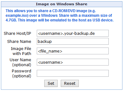 Mounting an ISO File from the Backup Space