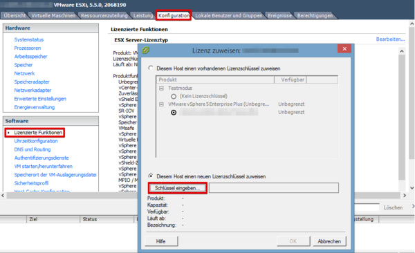 Entering license with vSphere Client