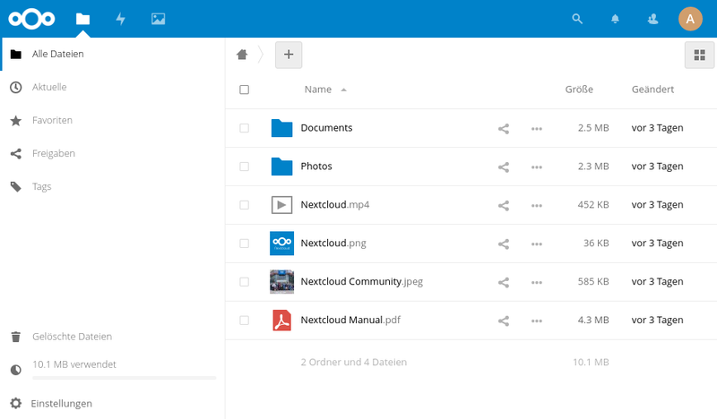 Datei:Nextcloud File Overview ger.png